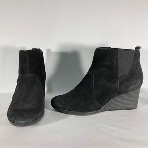Clarks Black Suede Wedge Ankle Bootie